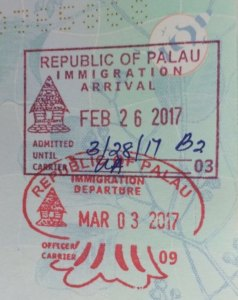 Palau passport stamps
