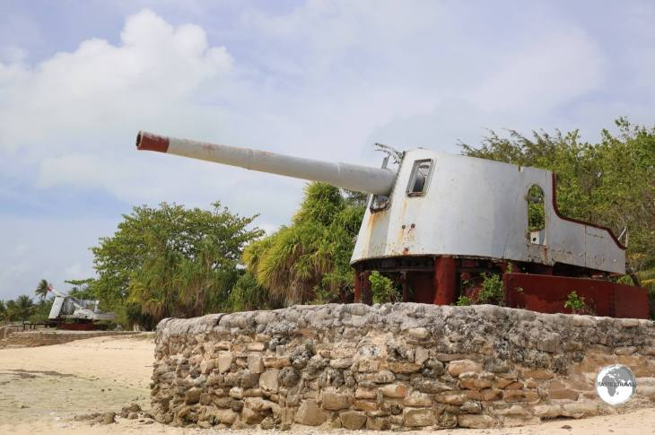 WWII relics on the beach at Betio Island.