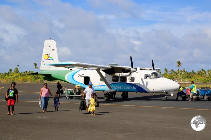 An Air Kiribati inter-island flight arriving at Bonriki Airport.
