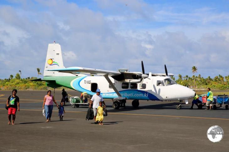 An Air Kiribati inter-island flight arriving at Bonriki Airport.