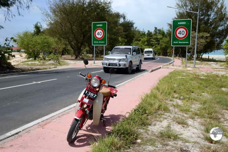 My rental scooter on the newly upgraded road on South Tarawa.