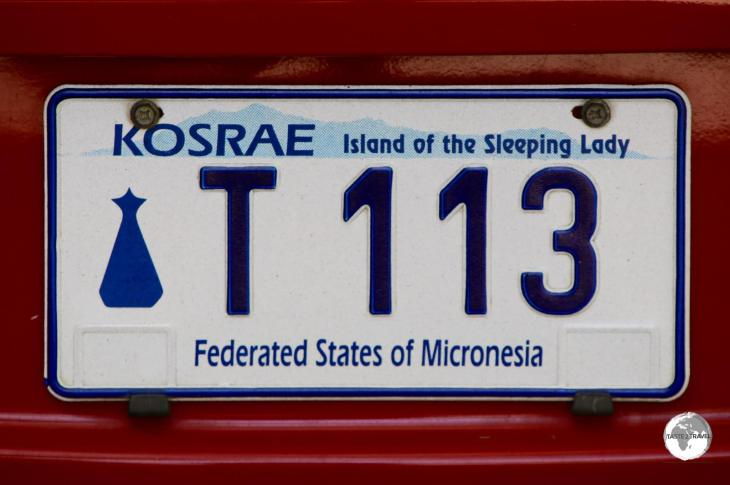 The license plate of my rental car on Kosrae.