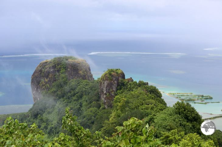 Sokehs Rock, a gigantic exposed basalt volcanic plug is the most striking feature of Pohnpei's topography.