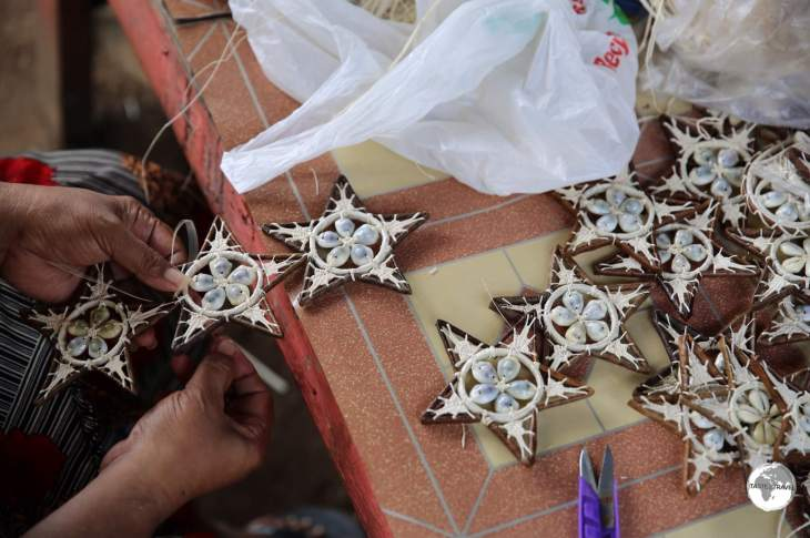 These handmade decorations are made by a woman's coop in Kolonia.
