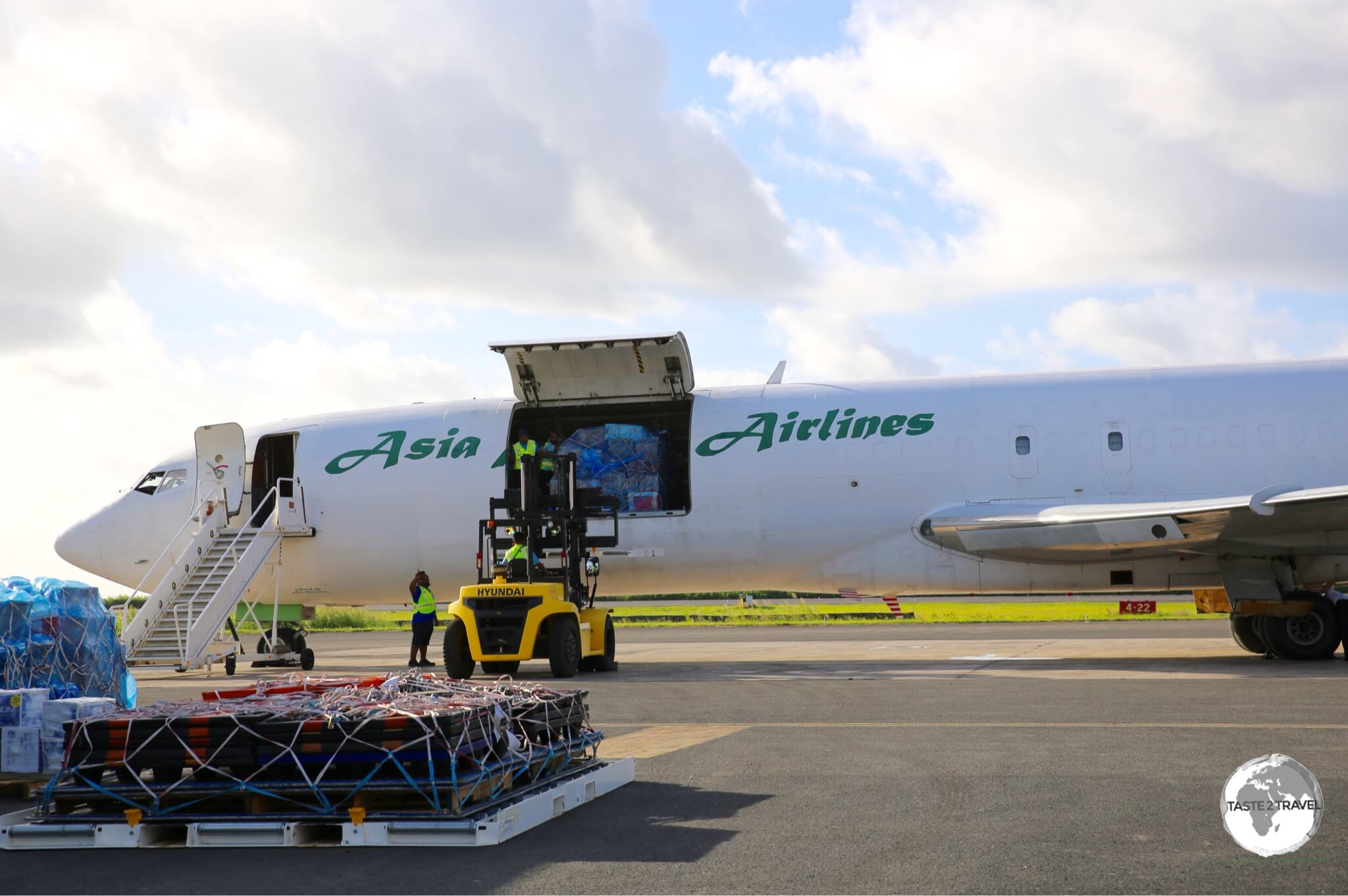 All freight in Micronesia arrives courtesy of two companies – Matson Shipping Line or Asia Pacific Airlines (seen here at Chuuk Airport).