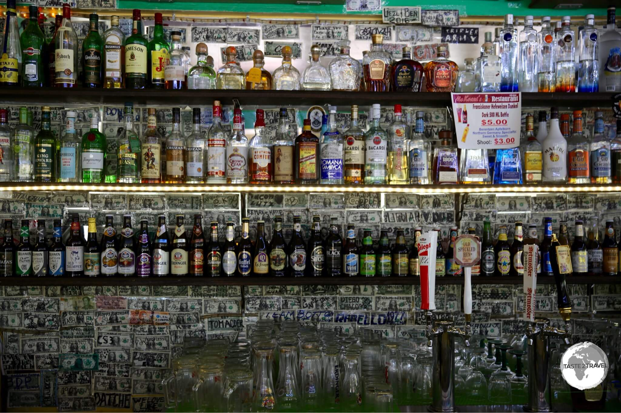 The well stocked bar at McKraut's German restaurant.