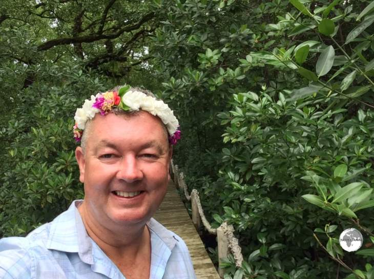 The few visitors who make it to Kosrae are welcomed with a flowery lai.