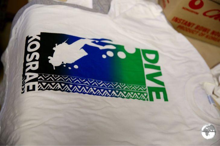 """""""Dive Kosrae"""" shirt - screen printed at the Green Banana Paper Company."""
