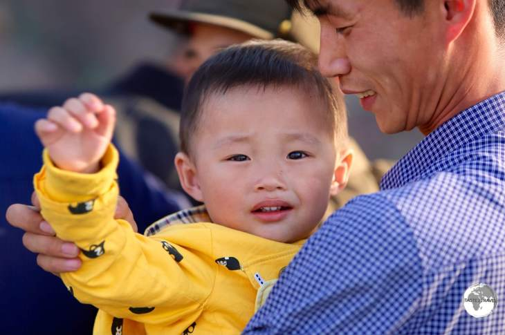 A father and son at the Pyongyang Central zoo.