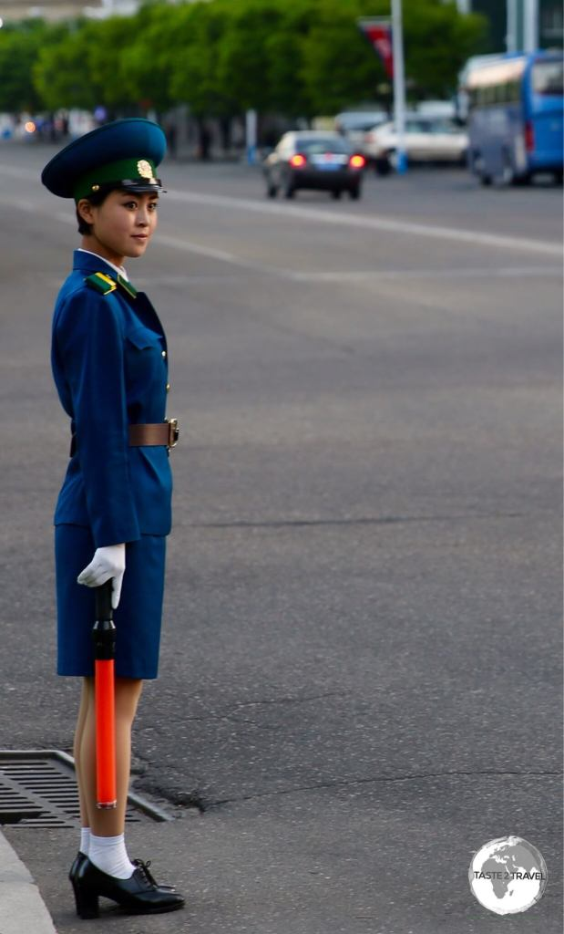A typically young traffic policewoman in Pyongyang.