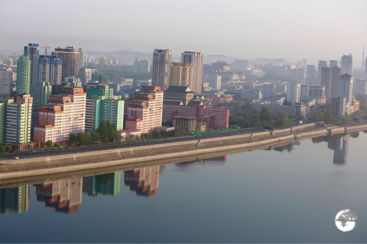 A view of downtown Pyongyang and the Taedong River from the Yanggakdo International Hotel.