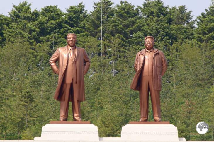 Statues of Kim Il-sung and Kim Jong-il, which overlook the city of Kaeson.