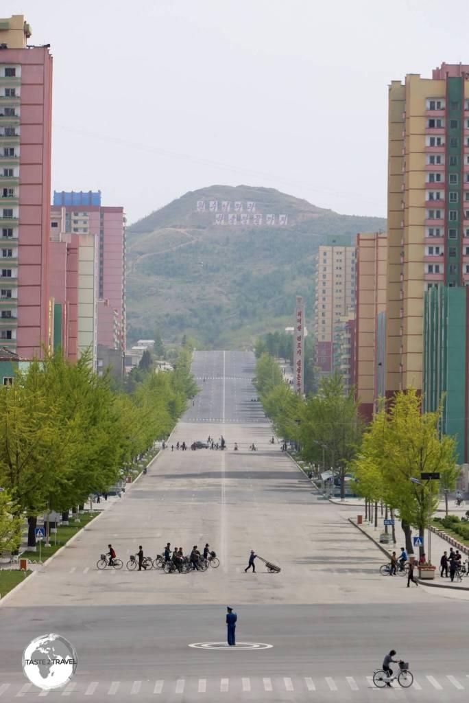 Main street of Kaeson, North Korea.
