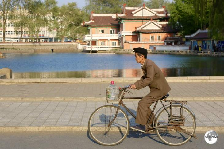 A cyclist in downtown Sariwon city.