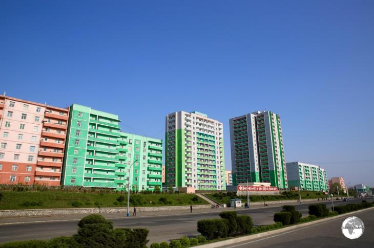 Colourful apartment buildings line one of the many avenues in the city of Nampo.