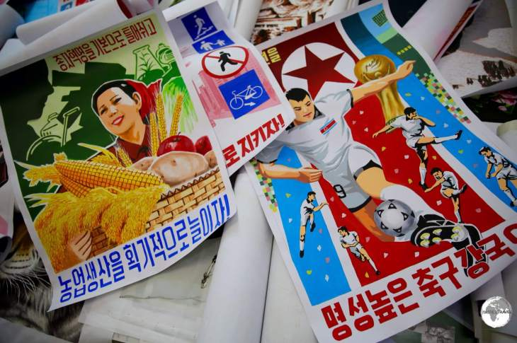 Hand-painted propaganda posters at the Foreign Language Bookshop.