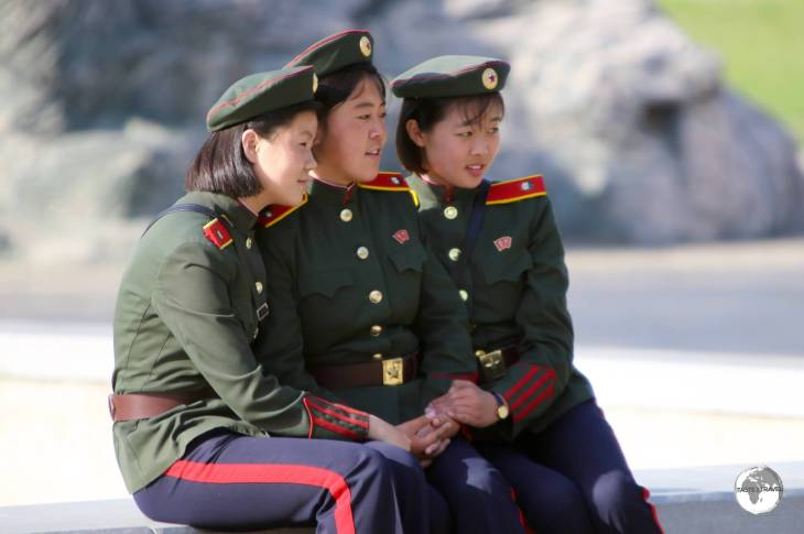 Young cadet girls enjoying their May day holiday at the Pyongyang Central zoo.