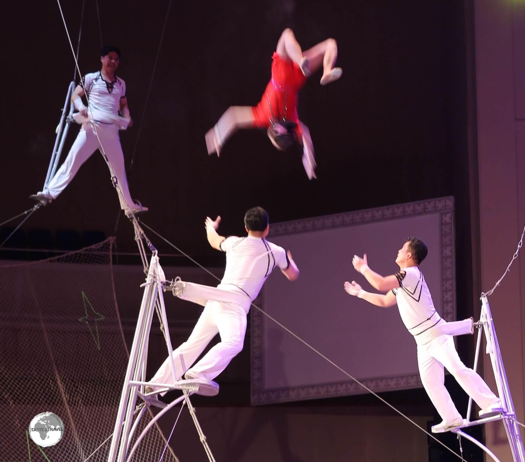 Acrobats perform at the Pyongyang circus.