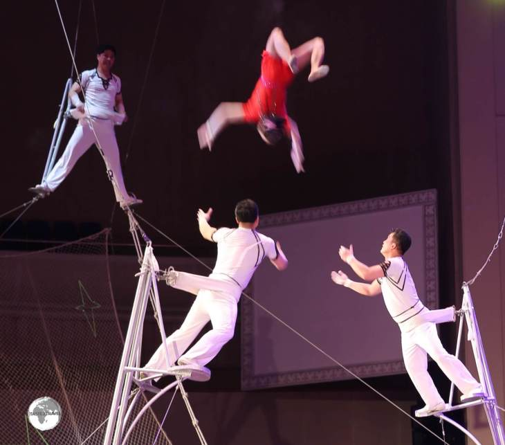 Acrobats perform at the Pyongyang circus.
