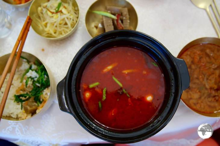 For lunch at the Thongil Restaurant in Kaeson, we were treated (?) to <i>dog soup</i>.
