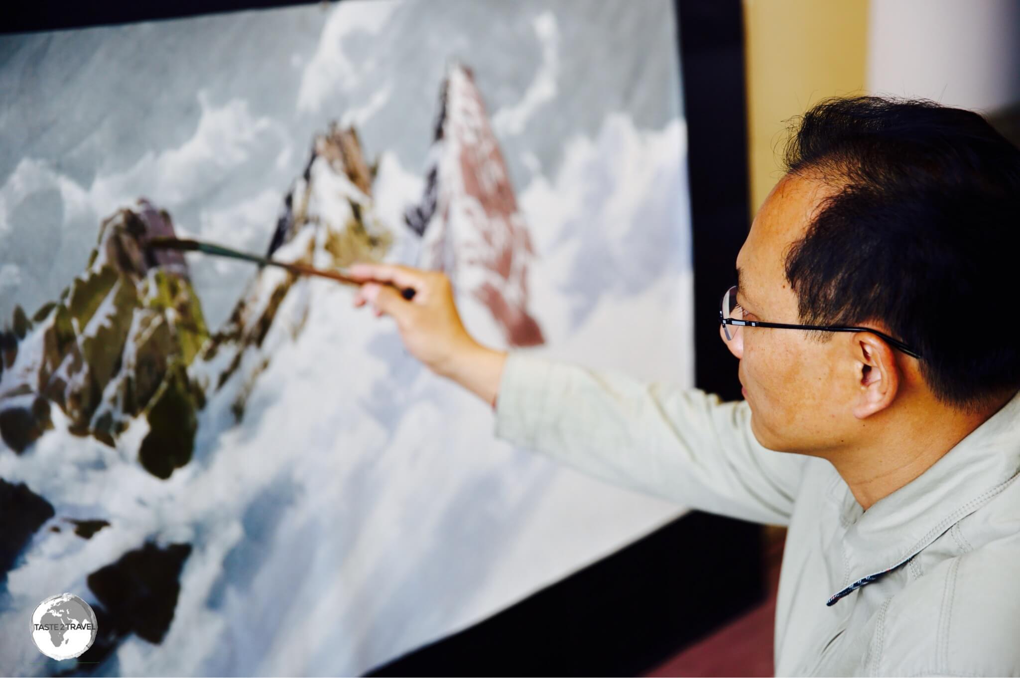 Artist at the Mansudae Art Studios in Pyongyang.