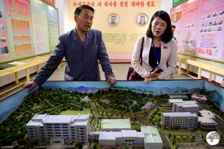 The principal showing us a 'model' of the model school - the <i>Kim Jong Suk Middle School Number 1</i> in Phyongsong.