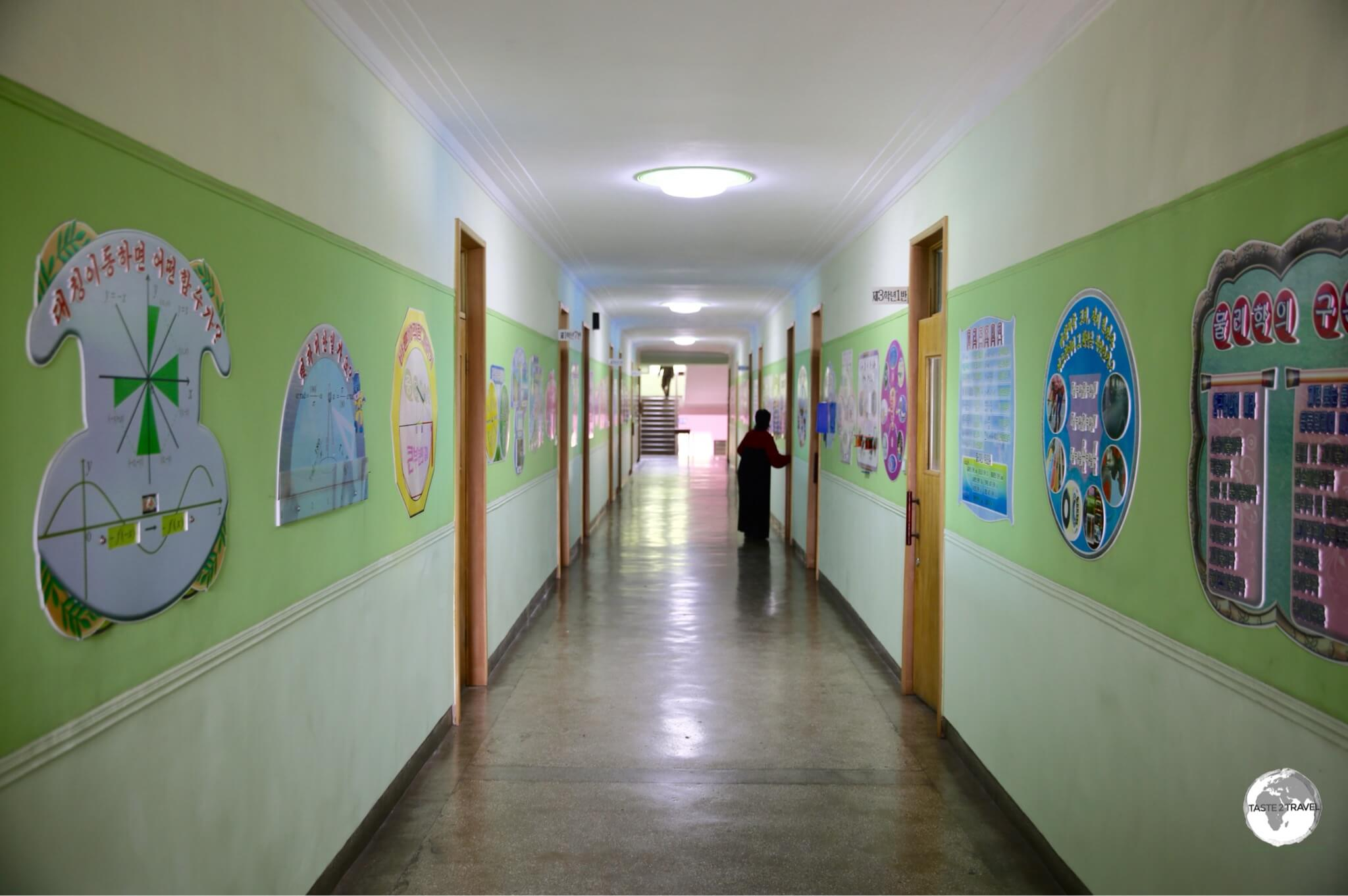 The spotlessly clean corridors inside the Phyongsong Model School which the students are required to mop.