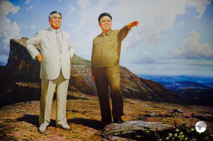 An idealised image of the former DPRK leaders, Kim Il-sung (left) and his son, Kim Jong-il.