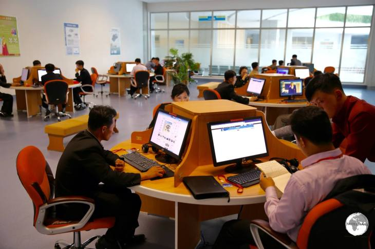 Users at the DPRK Sci-Tech Complex accessing the <i>Kwangmyong</i>, the North Korean version of the internet.