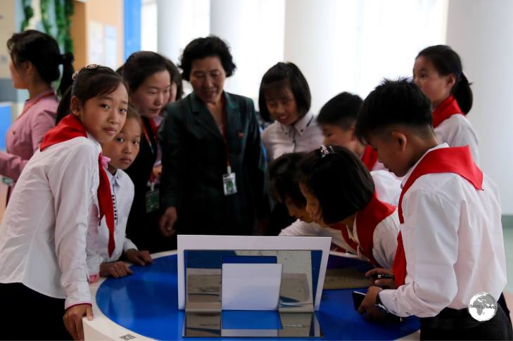 A school group at the Science & Technology centre in Pyongyang.
