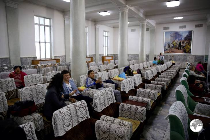 The lace-filled waiting room at Pyongyang railway station.