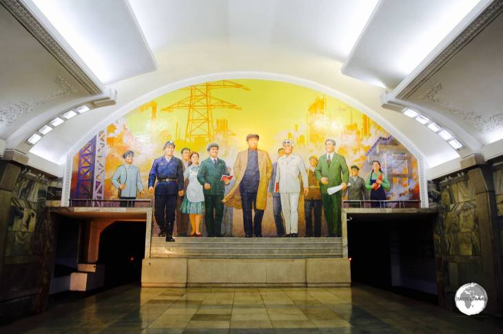 "Puhung Station features a mural entitled ""The Great Leader Kim Il-Sung Among Workers""."