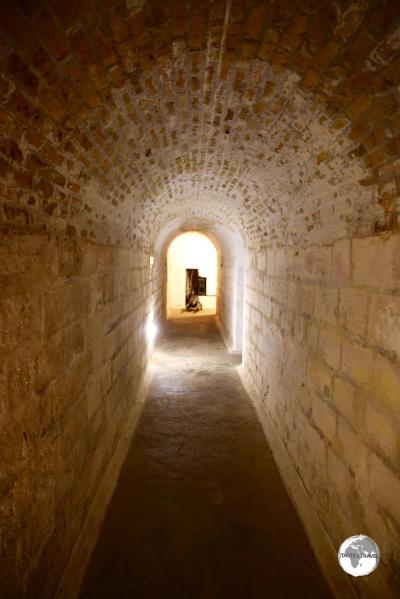 A tunnel underneath Fort St. Catherine, which is located in the parish of St. Georges.