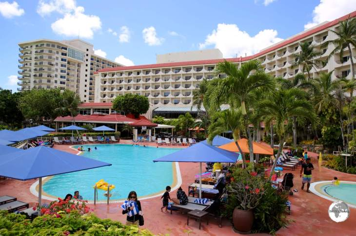 Most visitors to Guam stay in expensive resorts - such as the Guam Hilton - on beautiful Tumon Bay, the Waikiki of Guam.