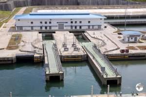 The 'sliding' gates on the newly expanded Lake Gatun locks.