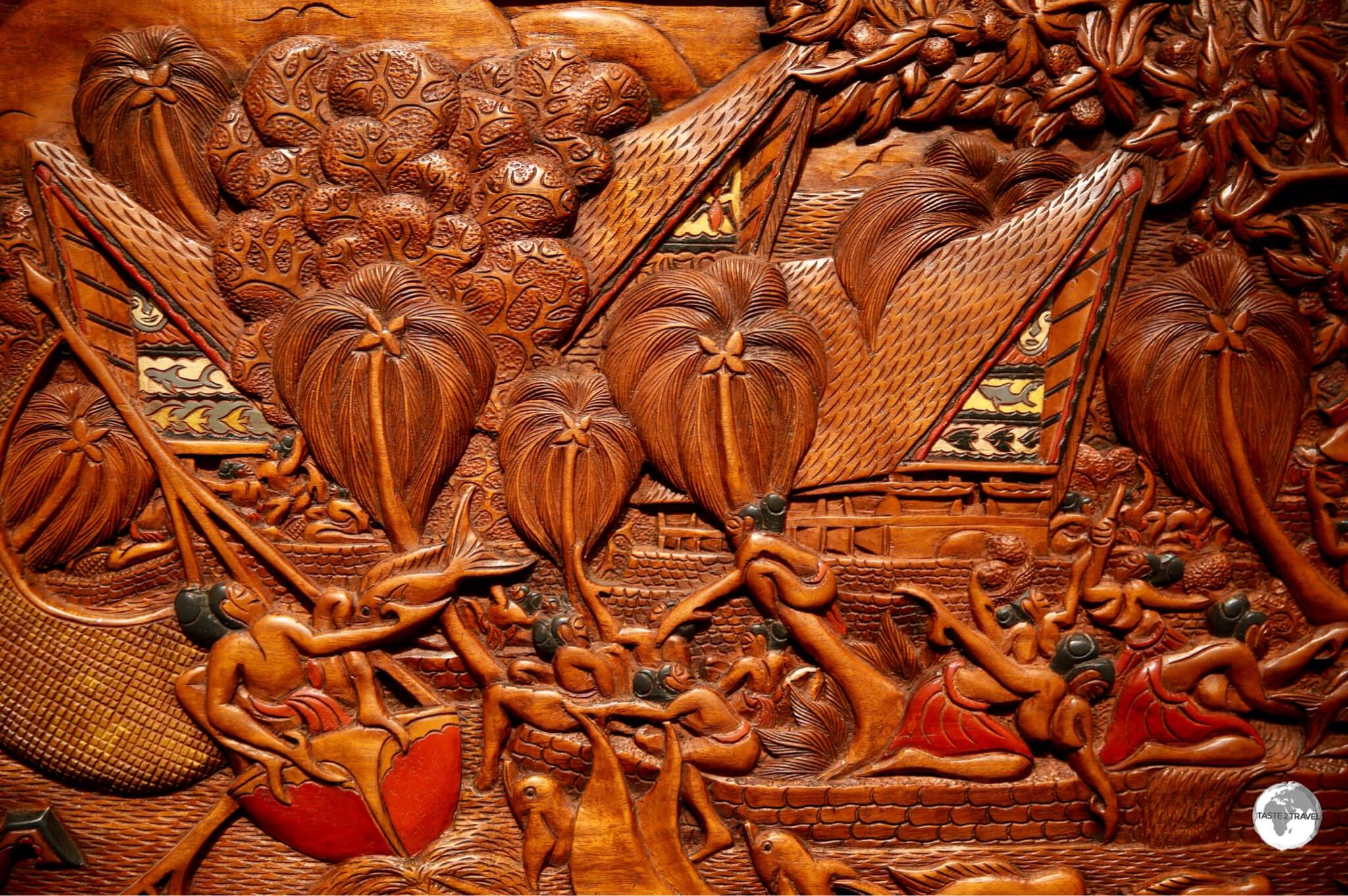 Traditional Palau 'storyboard' wood carving.