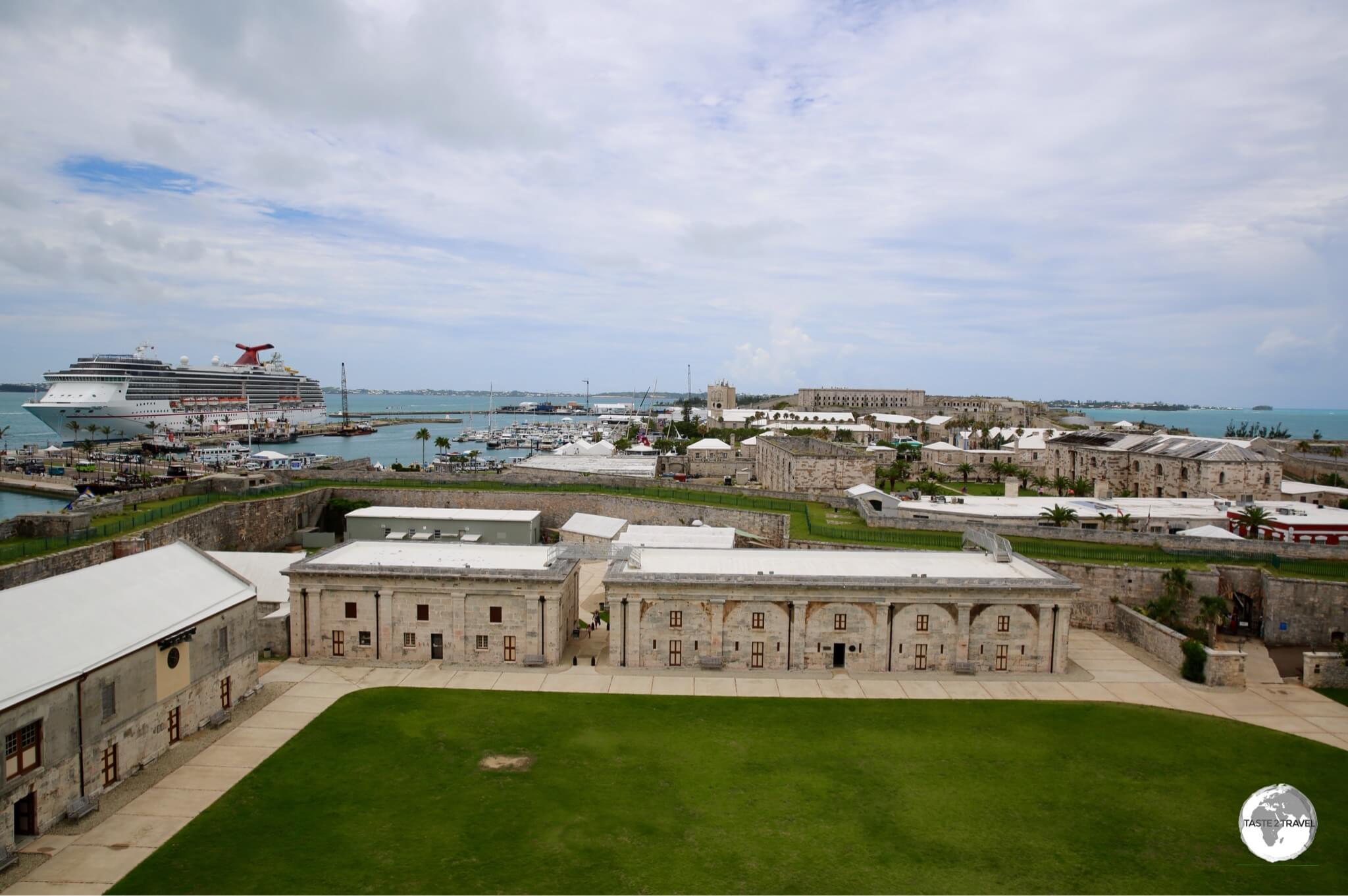 View of the Royal Naval Dockyard precinct from the Bermuda National Museum.