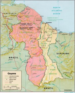 Map showing the disputed Essequibo territory (pink).