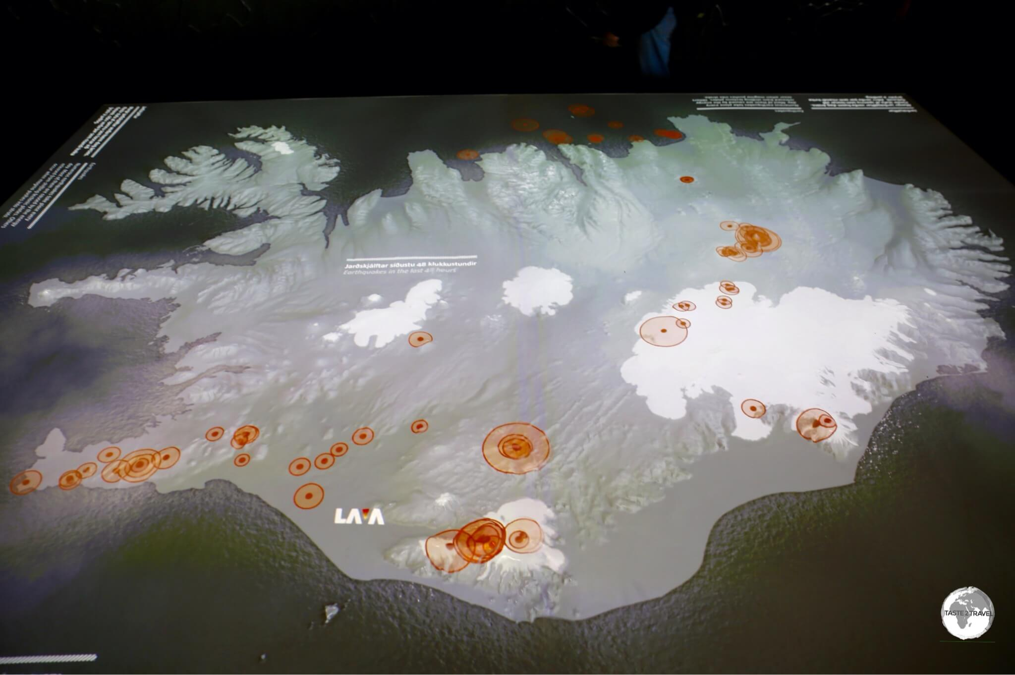 Orange circles on a map of Iceland at the Lava Centre indicate earthquake activity in the last 24 hours.