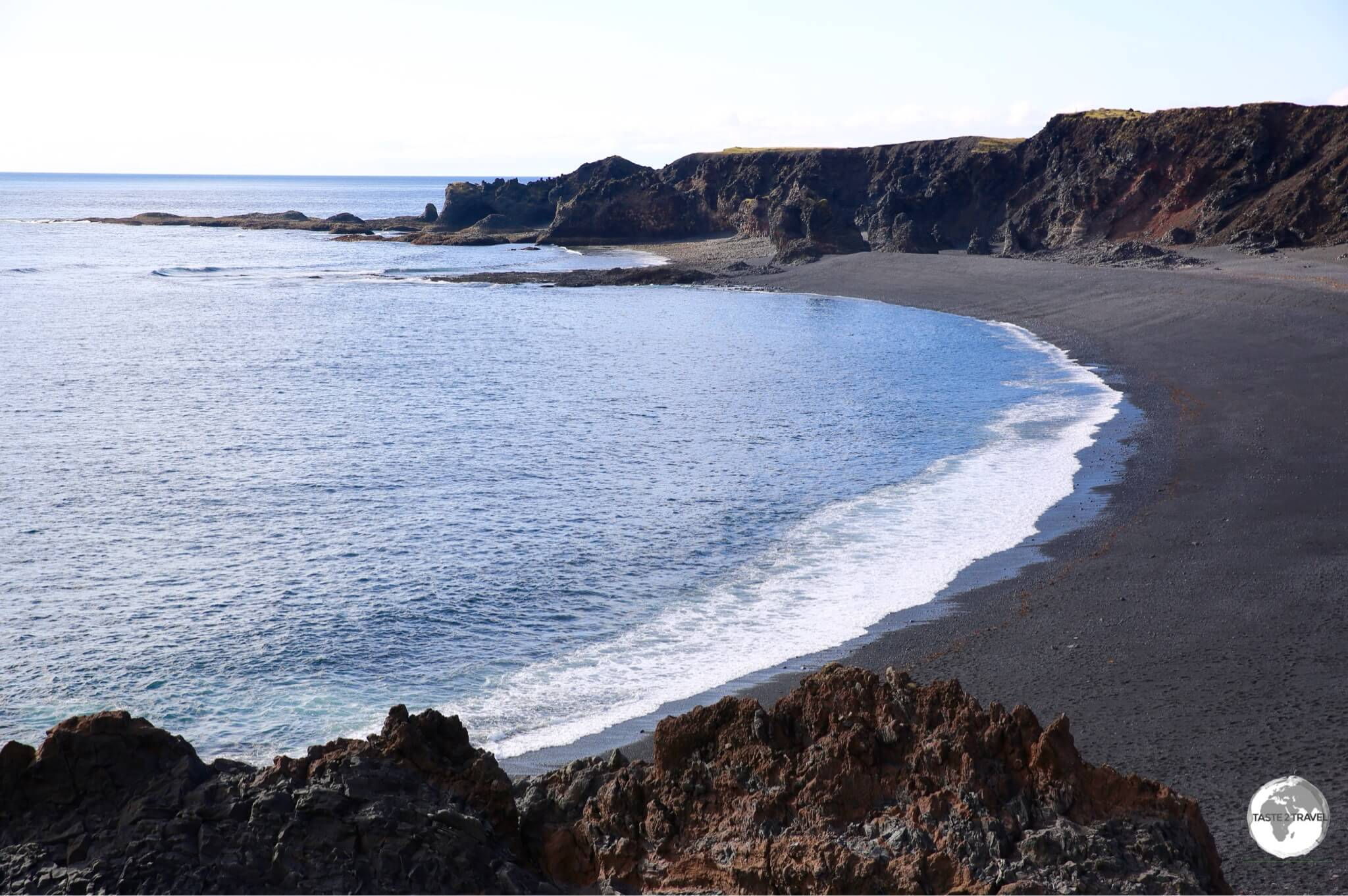 Djúpalónssandur beach is surrounded by spectacular lava fields.