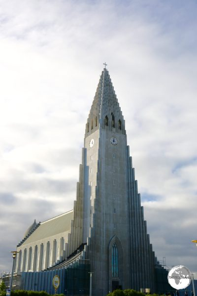 The towering Hallgrímskirkja, an iconic church which is the main landmark in the Reykjavik.