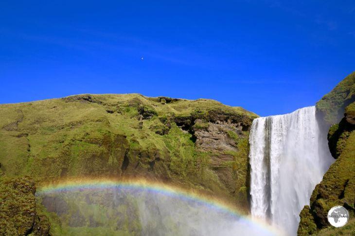 A rainbow is always guaranteed at Skógafoss waterfall.
