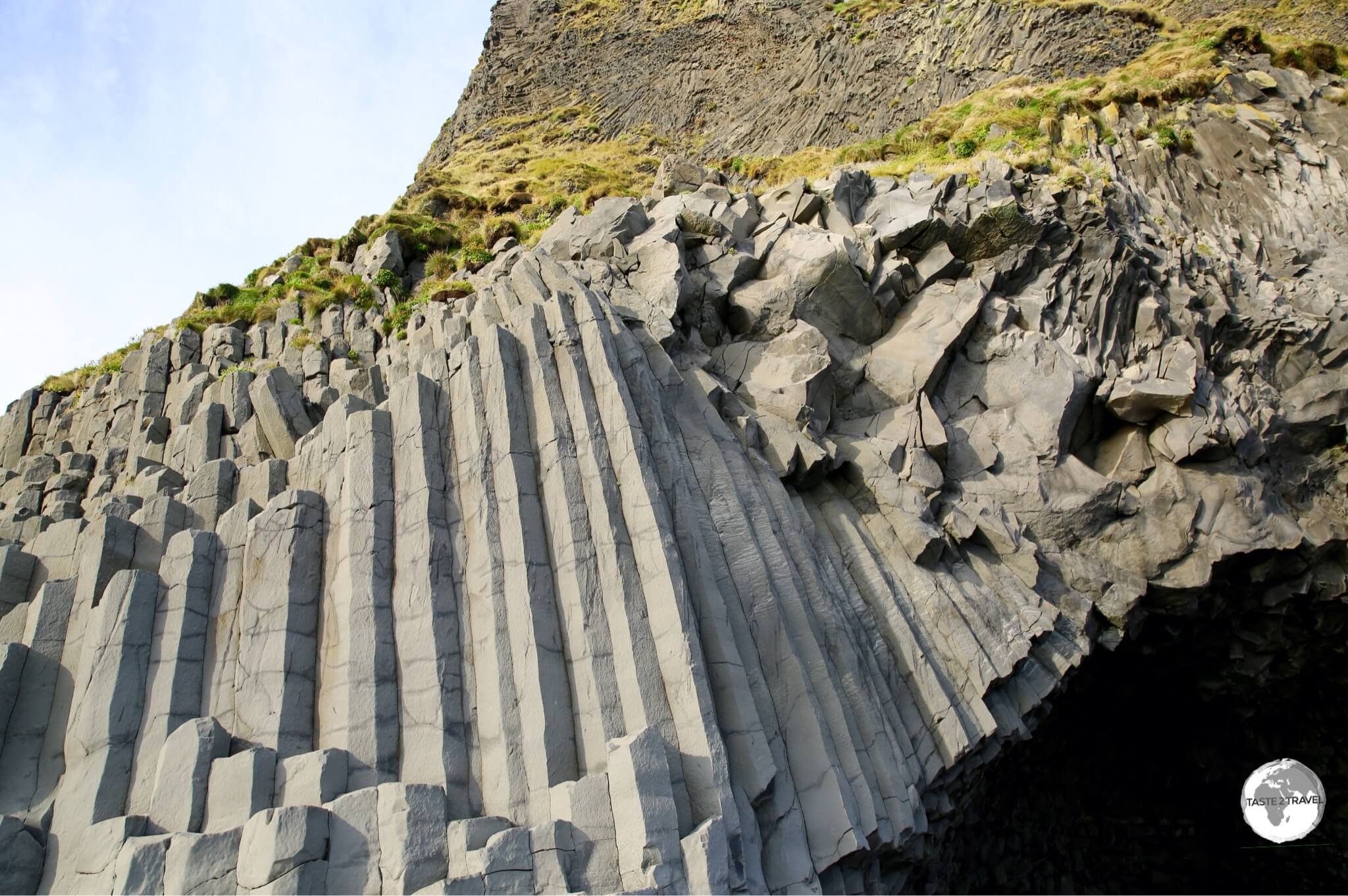 The perfectly formed basalt columns form a rocky pyramid known as Gardar.