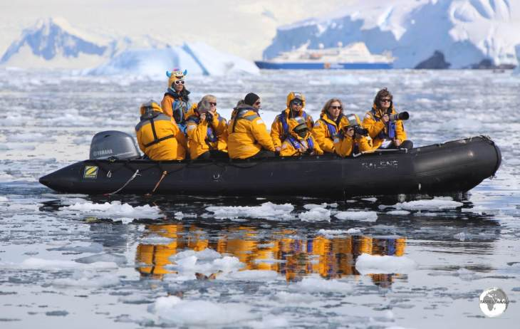 An early morning Zodiac sea excursion in the Graham passage.