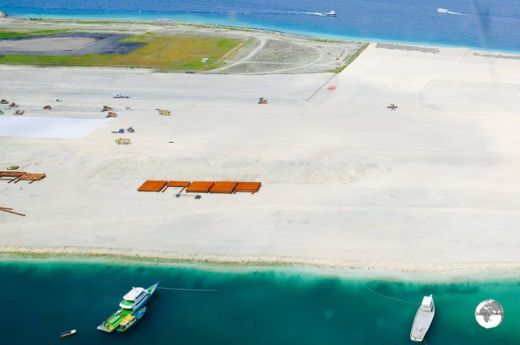 Land on Hulhule Island is being reclaimed by a Chinese contractor as part of the airport expansion project.