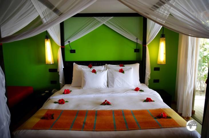 Interior of my beautiful Beach Villa at Vilamendhoo Island Resort and Spa.
