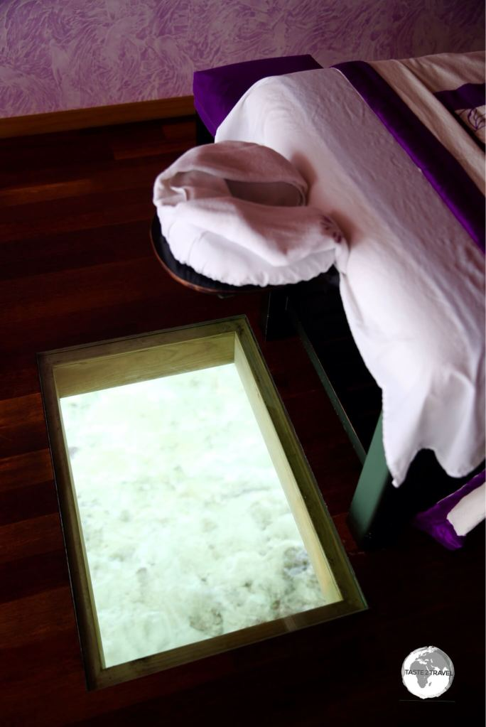 Guests can watch the fish swimming in the lagoon while they receive their massage at the spa.