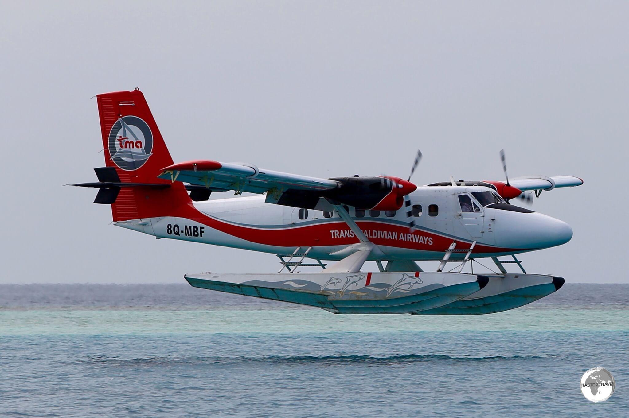 A TMA flight landing at remote Vilamendhoo resort.