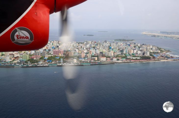 A panoramic view of crowded Malé from my TMA flight from Vilamendhoo Island Resort.