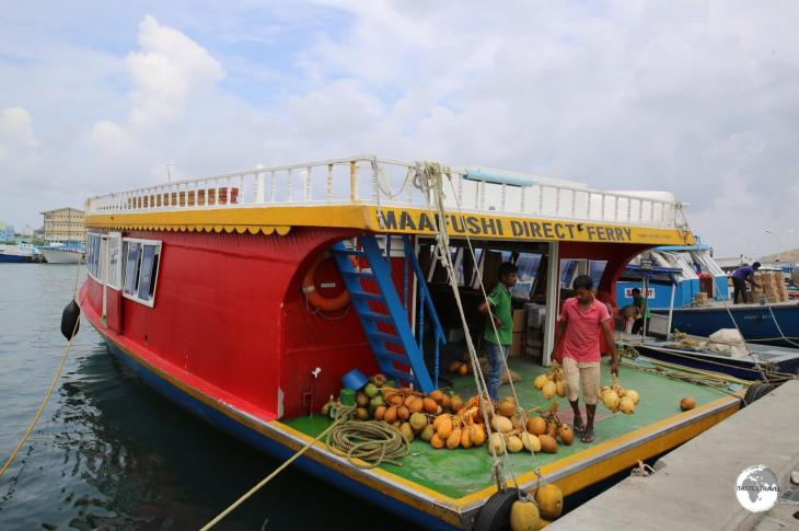 The Maafushi Ferry docked at the Viligili Ferry Terminal in Malé.